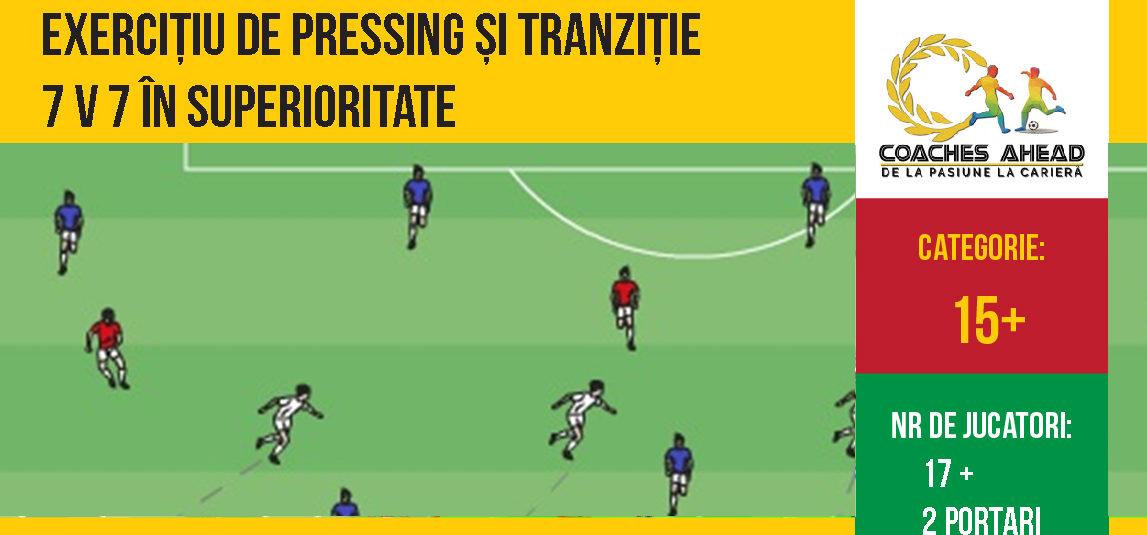 Exercițiu de pressing si tranziție 7v7 în superioritate