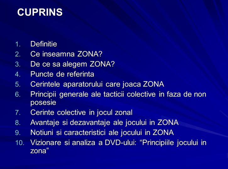 Notiuni, caracteristici si principii ale jocului in zona 2